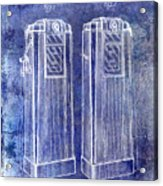 1936 Gas Pump Patent Blue Acrylic Print