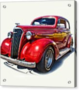 1937 Red Chevy Master Deluxe Acrylic Print by Mamie Thornbrue