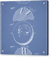 1939 Bowling Ball Patent - Light Blue Acrylic Print