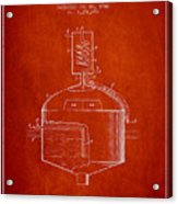 1944 Art Of Brewing Beer Patent - Red Acrylic Print