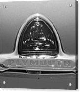 1948 Plymouth Coupe Emblem -0190bw Acrylic Print