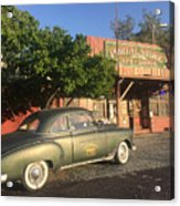 1950 Chevrolet Coupe In Front Of Portal Store Acrylic Print