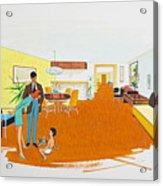 1950's Motel Room Retro Artwork Acrylic Print