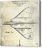 1956 Jet Airplane Patent 2 Blue Acrylic Print