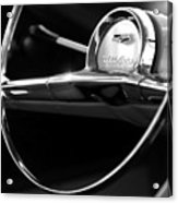 1957 Chevrolet Belair Steering Wheel Black And White Acrylic Print