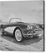 1959 Chevrolet Corvette Cabriolet In Black and White Acrylic Print