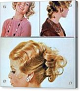 1960 70 Stylish Female Hair Styles Golden Blond Acrylic Print