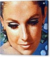 1960 70 Stylish Lady In Blue Acrylic Print