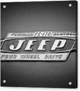 1960 Forward Control Jeep Fc-170 Emblem -1669bw Acrylic Print
