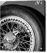 1964 Morgan 44 Spare Tire Black And White Acrylic Print