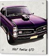 1967 Purple Pontiac Gto Acrylic Print