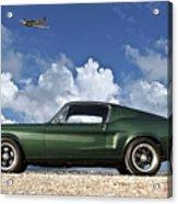 1968 Ford Bullitt Mustang Gt 390 Fastback, P-51 Mustang, Plymouth Rock Chicken Acrylic Print