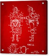 1968 Hard Space Suit Patent Artwork - Red Acrylic Print