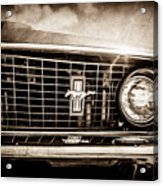 1969 Ford Mustang Grille Emblem -0129s Acrylic Print