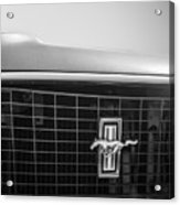 1969 Ford Mustang Grille Emblem -0133bw Acrylic Print