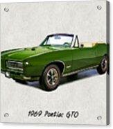 1969 Green Pontiac Gto Convertible Acrylic Print
