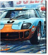 1969 Le Mans 24 Ford Gt 40 Ickx Oliver Winner  Acrylic Print