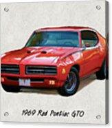 1969 Red Pontiac Gto The Judge Acrylic Print