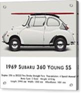 1969 Subaru 360 Young Ss - Creme Acrylic Print