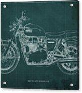 1969 Triumph Bonneville Blueprint Green Background Acrylic Print