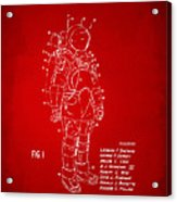 1973 Space Suit Patent Inventors Artwork - Red Acrylic Print