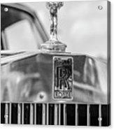 1976 Rolls Royce Saloon Hood Ornament Bw Acrylic Print