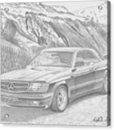 1984 Mercedes Benz 560 Sec Amg Classic Car Drawing Acrylic Print