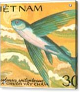1984 Vietnam Flying Fish Postage Stamp Acrylic Print