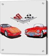 1986 And 1961 Corvettes Acrylic Print