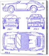 1990 Porsche 911 Patent Blueprint Acrylic Print