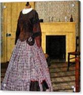 19th Century Plaid Dress Acrylic Print