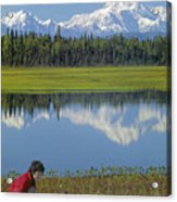 1m1326 Wife And Son In Denali National Park Acrylic Print