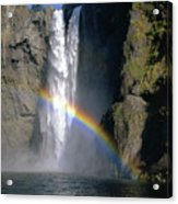 1m4716 Snoqualmie Falls And Rainbow Acrylic Print