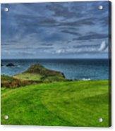 1st Green Cape Cornwall Golf Club Acrylic Print by Chris Thaxter