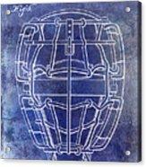1887 Baseball Mask Patent Blue Acrylic Print