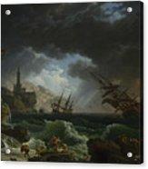 A Shipwreck In Stormy Seas Acrylic Print