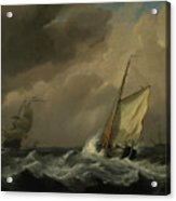 A Small Dutch Vessel Close-hauled In A Strong Breeze Acrylic Print