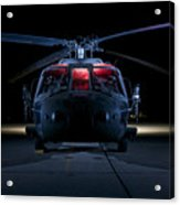 A Uh-60 Black Hawk Helicopter Lit Acrylic Print