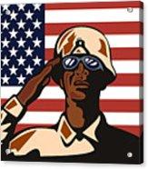 American Soldier Saluting Flag Acrylic Print