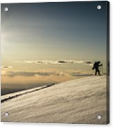 Back Country Skiing In The La Sal  Mountains, Utah. Acrylic Print