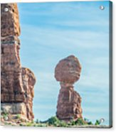 Balanced Rock In Arches National Park Near Moab  Utah At Sunset Acrylic Print