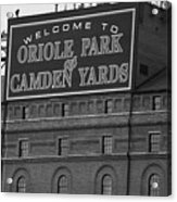 Baltimore Orioles Park At Camden Yards Bw Acrylic Print