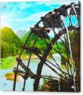 Bamboo Water Wheel Acrylic Print