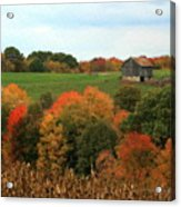 Barn On Autumn Hillside  A Seasonal Perspective Of A Quiet Farm Scene Acrylic Print