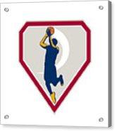 Basketball Player Jump Shot Ball Shield Retro Acrylic Print
