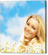 Beautiful Woman Enjoying Daisy Field And Blue Sky Acrylic Print