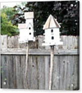 2 Bird Houses And A Fence Acrylic Print