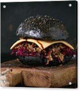 Black Burger With Stews Acrylic Print