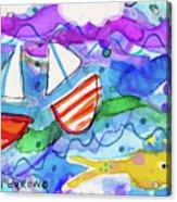 2 Boats And Yellow Fish Acrylic Print