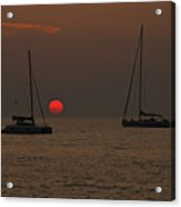 Boats In The Sunset Acrylic Print by Joana Kruse